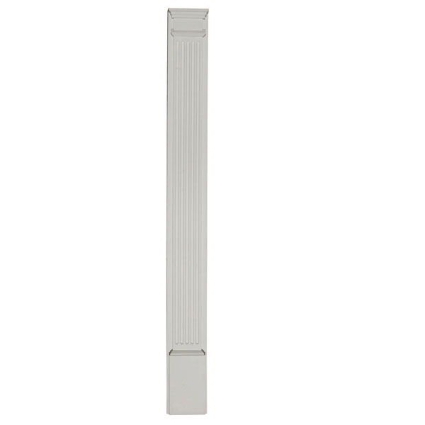 """8""""W x 100""""H x 2 3/4""""D with 14"""" Attached Plinth, Fluted Pilaster (each)"""