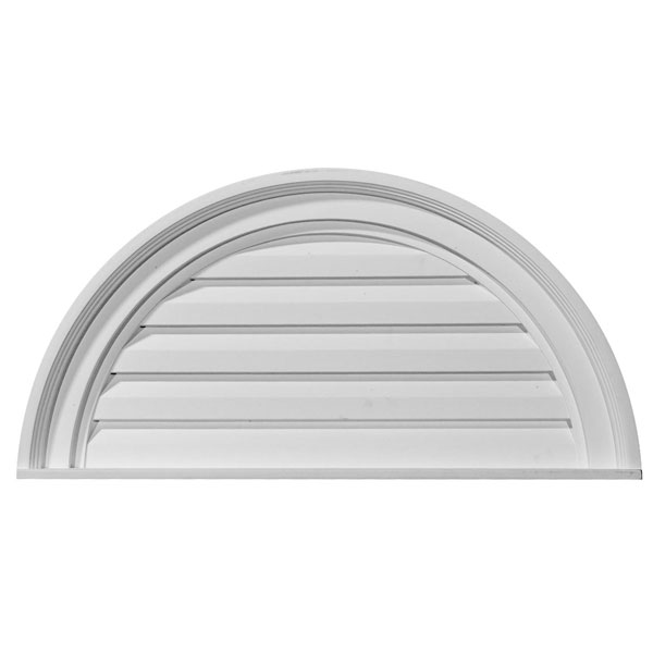 "24""W x 12""H x 2 1/8""P, Half Round Gable Vent Louver, Decorative"