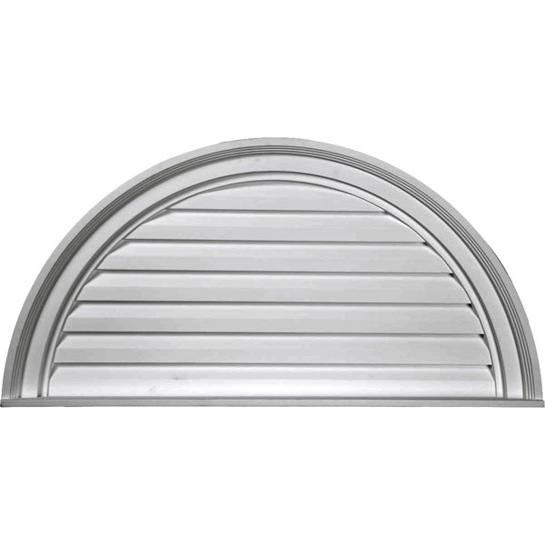 "32""W x 16""H x 2 1/4""P, Half Round Gable Vent Louver, Decorative"