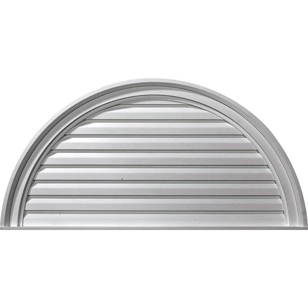 "36""W x 18""H x 2 5/8""P, Half Round Gable Vent Louver, Decorative"