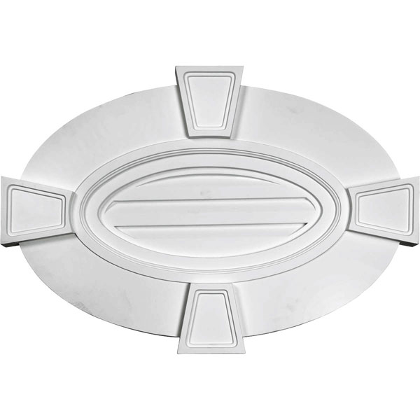 "29""W x 20""H x 1 3/4""P, Horizontal Oval Gable Vent Louver with Flat trim & Keystones, Decorative"