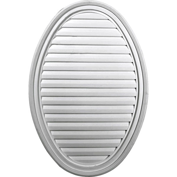 "24 1/2""W x 37""H x 2 1/4""P, Vertical Oval Gable Vent Louver, Decorative"