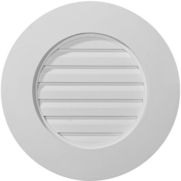 "20""W x 20""H x 1 1/2""P, Round Gable Vent Louver, w/ Wide Trim, Decorative"