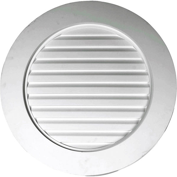 "27""W x 27""H x 1 5/8""P, Plain Round Gable Vent Louver, w/ Wide Trim, Decorative"
