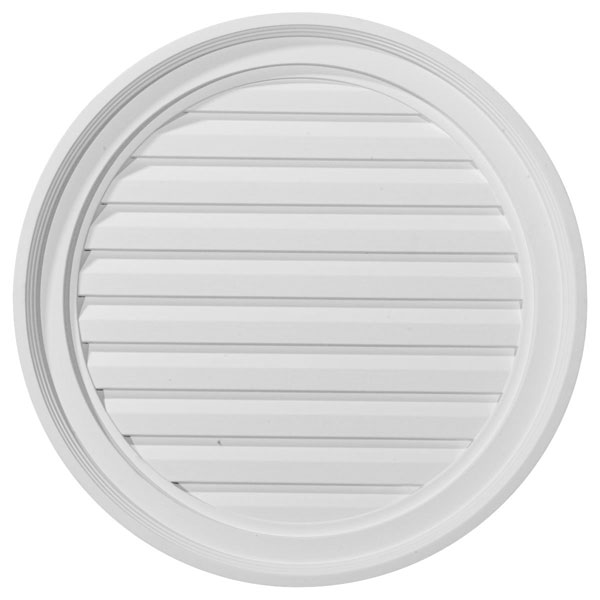 "22""W x 22""H x 2 1/8""P, Round Gable Vent Louver, Functional"