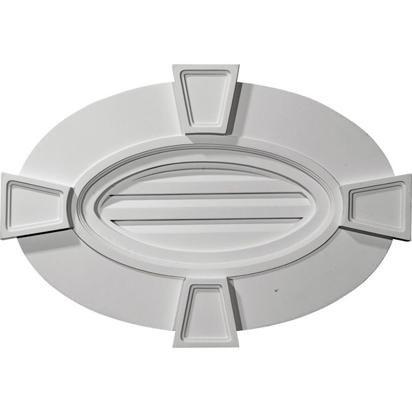"29""W x 20""H x 1 3/4""P, Horizontal Oval Gable Vent with Keystones, Functional"