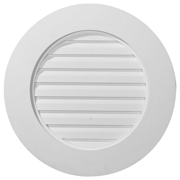 "23""W x 23""H x 1 5/8""P, Round Gable Vent Louver, w/ Wide Trim, Functional"