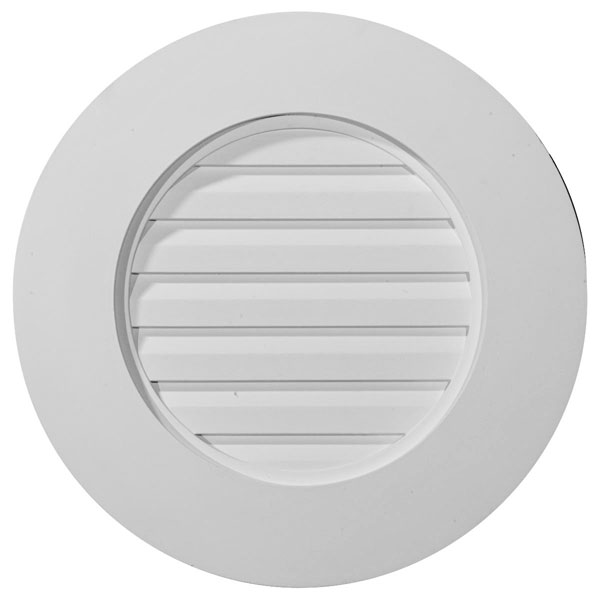 "27""W x 27""H x 1 3/4""P, Plain Round Gable Vent Louver, w/ Wide Trim, Functional"