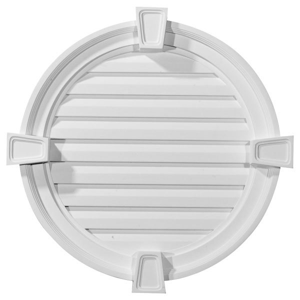 "22""W x 22""H x 2 1/8""P,  Round Gable Vent with Keystones, Functional"