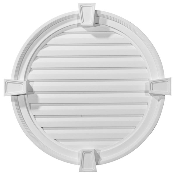 "24""W x 24""H x 2 1/8""P, Round Gable Vent with Keystones, Functional"