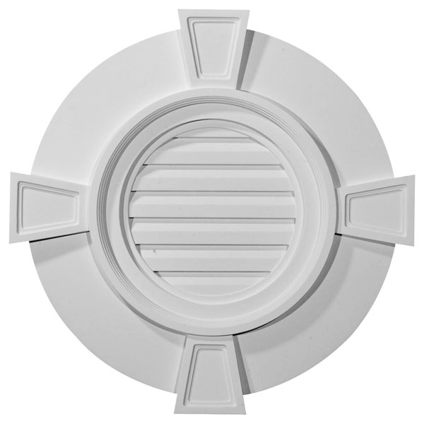 "24""W x 24""H x 1 5/8""P, Round Gable Vent with Keystones, Functional"