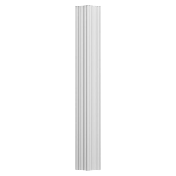 "3"" x 8' Endura-Aluminum Column, Square Shaft (For Pilaster Installation - 2 Halves Included), Non-Tapered, Fluted, Textured White Finish"