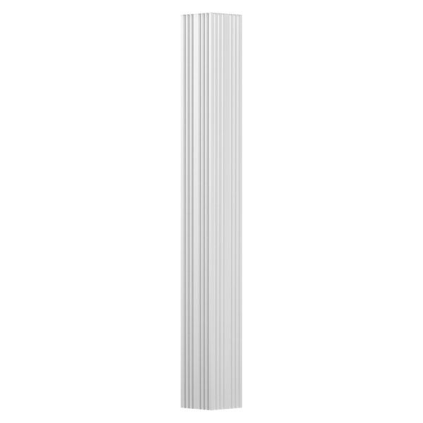 "3"" x 9' Endura-Aluminum Column, Square Shaft (For Pilaster Installation - 2 Halves Included), Non-Tapered, Fluted, Gloss White Finish"