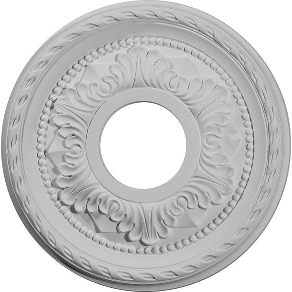 "12 1/8""OD x 3 1/2""ID x 1""P Palmetto Ceiling Medallion (Fits Canopies up to 4 7/8"")"