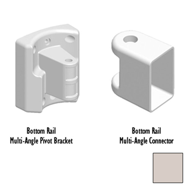 Bottom Rail Multi-Angle Connector & Pivot Bracket, Tan