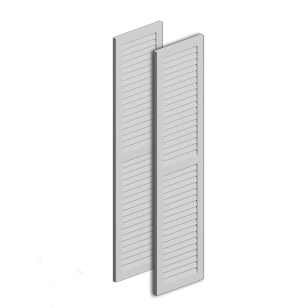 "16""W x 60""H x 1""P Louvered Shutter w/ Center Rail, Urethane (Per Pair)"