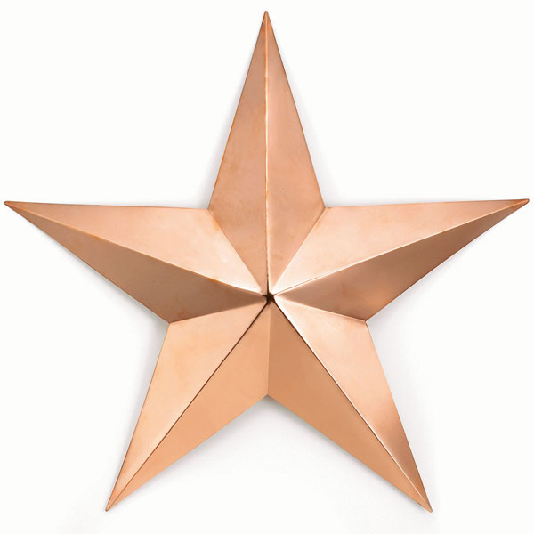 "34"" Large Copper Barn Star, Polished Copper"