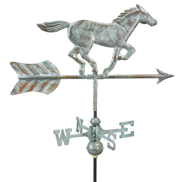 "21""L x 11""W x 27""H Horse Weathervane, Blue Verde Copper"