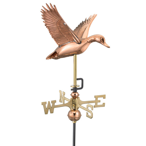 "12""L x 14""W x 29""H Flying Duck Weathervane, Polished Copper"