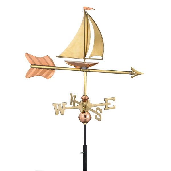"21""L x 11""W x 28""H Sailboat Weathervane, Polished Copper"