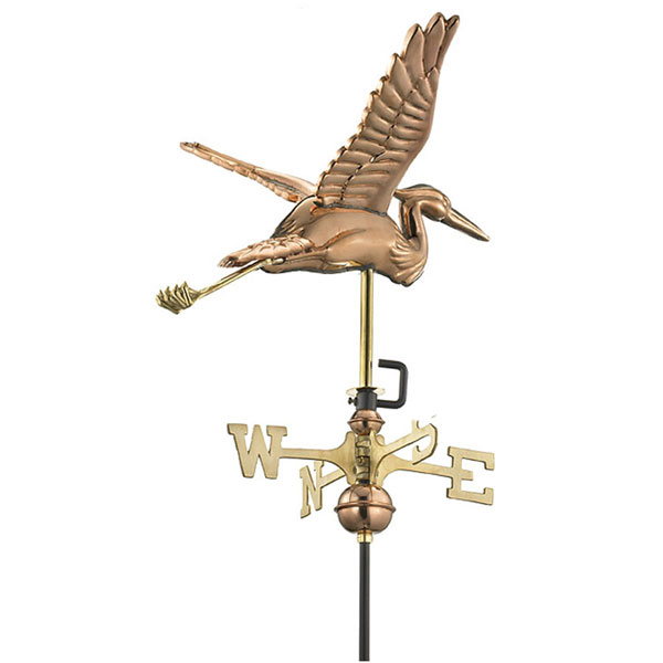 "17 1/2""L x 17""W x 26""H Blue Heron Weathervane, Polished Copper"