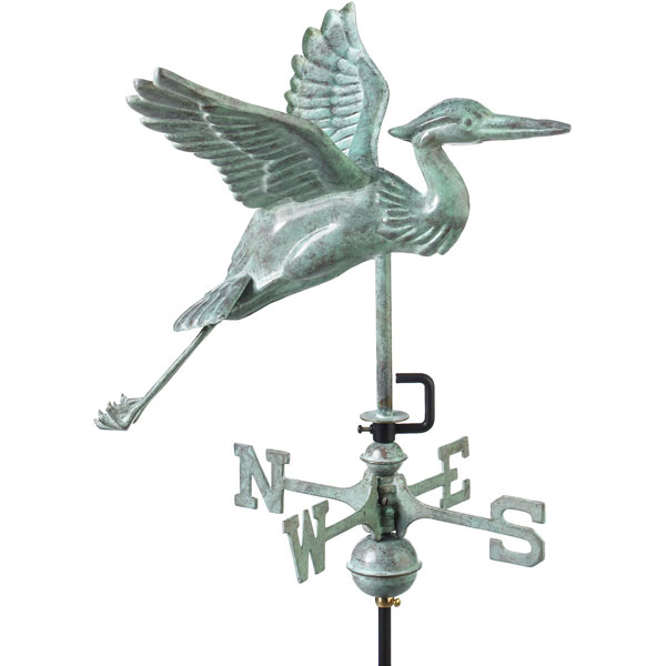 "17 1/2""L x 17""W x 26""H Blue Heron Weathervane, Blue Verde Copper"