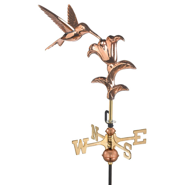 "14 1/2""L x 11""W x 29""H Hummingbird Weathervane, Polished Copper"