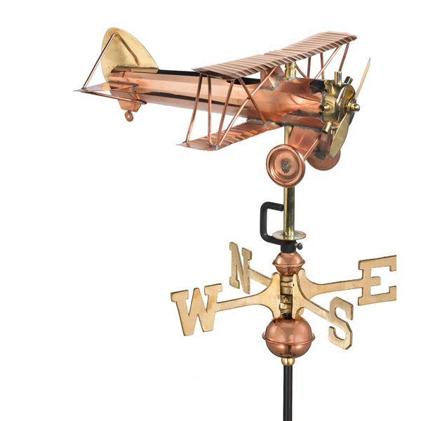 "13""L x 13""W x 22""H Biplane Weathervane, Polished Copper"