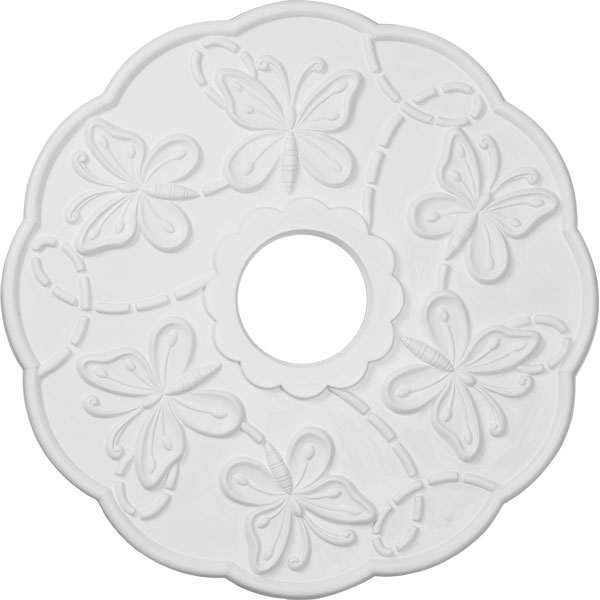 "17 7/8""OD x 3 7/8""ID x 1""P Terrones Butterfly Ceiling Medallion (Fits Canopies up to 3 7/8"")"