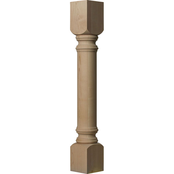 "5""W x 5""D x 35 1/2""H Traditional Cabinet Column (Top Block: 6"", Bottom Block: 7"")"