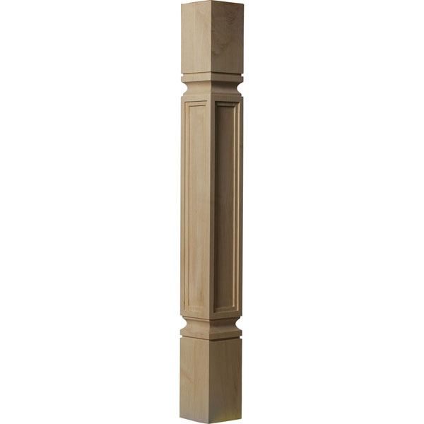 "3 3/4""W x 3 3/4""D x 35 1/2""H Kent Raised Panel Cabinet Column (Top Block: 6 1/8"", Bottom Block: 7 1/8"")"