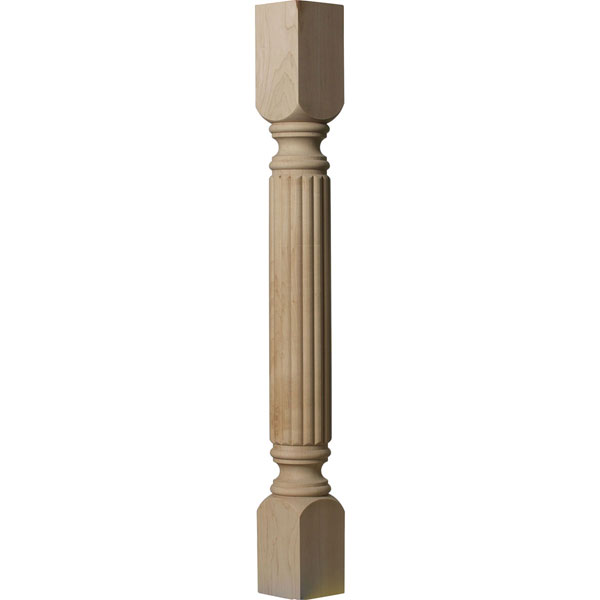 "3 3/4""W x 3 3/4""D x 35 1/2""H Raymond Reeded Cabinet Column (Top Block: 6 1/8"", Bottom Block: 7 1/8"")"