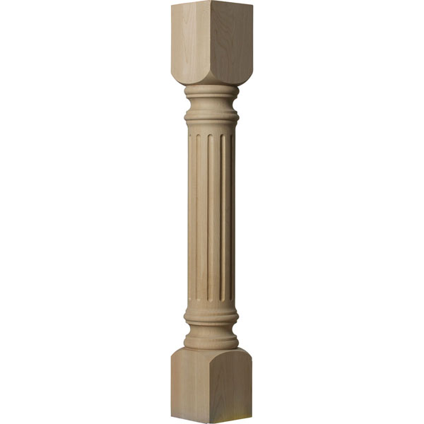 "5""W x 5""D x 35 1/2""H Richmond Fluted Cabinet Column (Top Block: 6"", Bottom Block: 7"")"