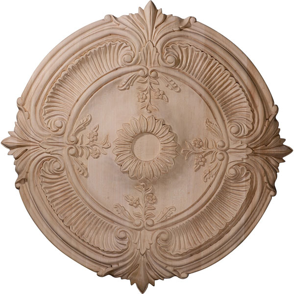 "16""OD x 1 1/8""P Carved Acanthus Leaf Wood Ceiling Medallion (Fits Canopies up to 2"")"