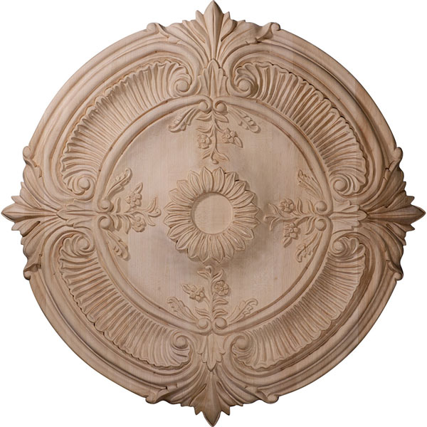 "24""OD x 2 1/4""P Carved Acanthus Leaf Ceiling Medallion (Fits Canopies up to 2 3/8"")"