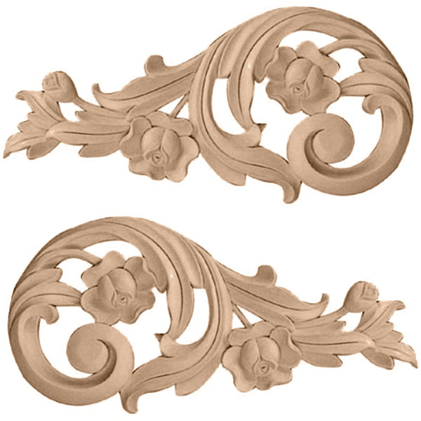 "11 1/2""W x 5 1/2""H x 1""D (Each Side) Large Rose Scrolls (Pair)"
