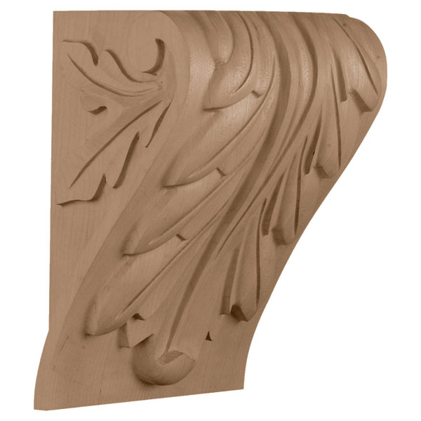 "6 3/4""W x 5 1/2""D x 9 1/2""H, Medium Block Acanthus Leaf Corbel"