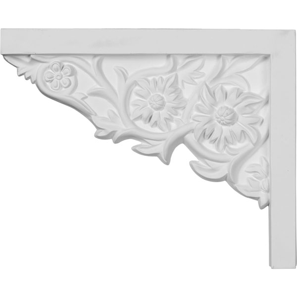 """9""""W  x 7 1/4""""H x  5/8""""P Floral Small Stair Bracket, Left"""