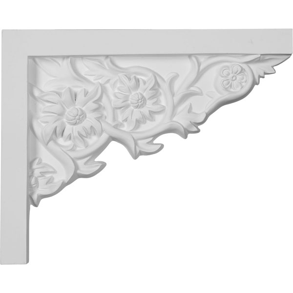 """9""""W  x 7 1/4""""H x  5/8""""P Floral Small Stair Bracket, Right"""