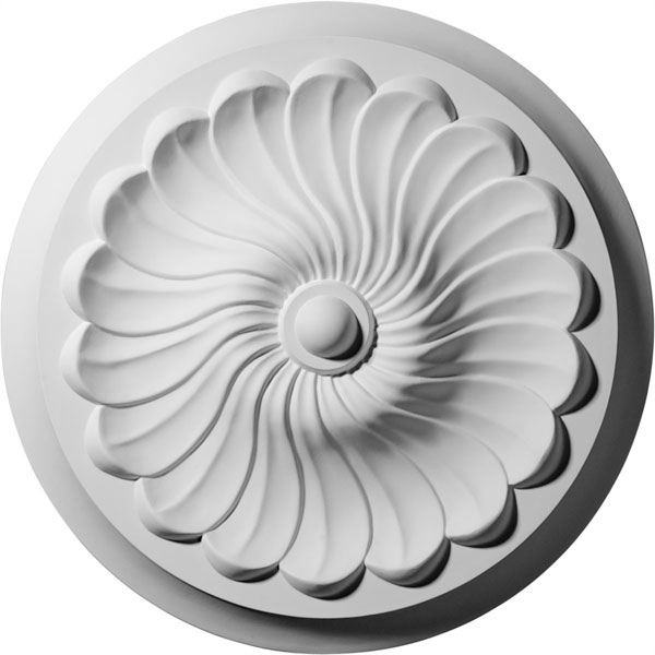 "12 1/4""OD x 2 1/4""P Flower Spiral Ceiling Medallion (Fits Canopies up to 2"")"