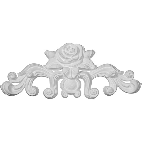 "13 3/4""W  x 5 1/2""H x 1""P Nadia Decorative Rose Center with Scrolls Onlay"