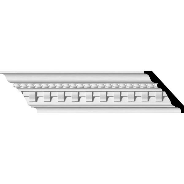 "3 1/2""H x 3 7/8""P x 5 1/8""F x 94 1/2""L, (1 3/8"" Repeat), Bulwark Dentil and Rope Crown Moulding"