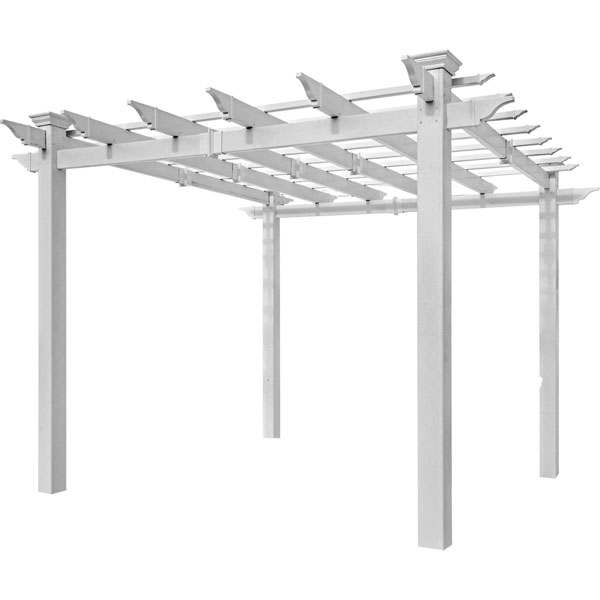 "129""W x 129""D x 85 1/2""H (96""W x 96""H Post to Post) Mirage Pergola, White"