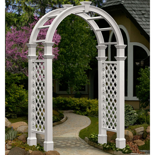 "59 3/4""W x 28""D x 94 1/8""H Nantucket Legacy Arbor with Trim, White"