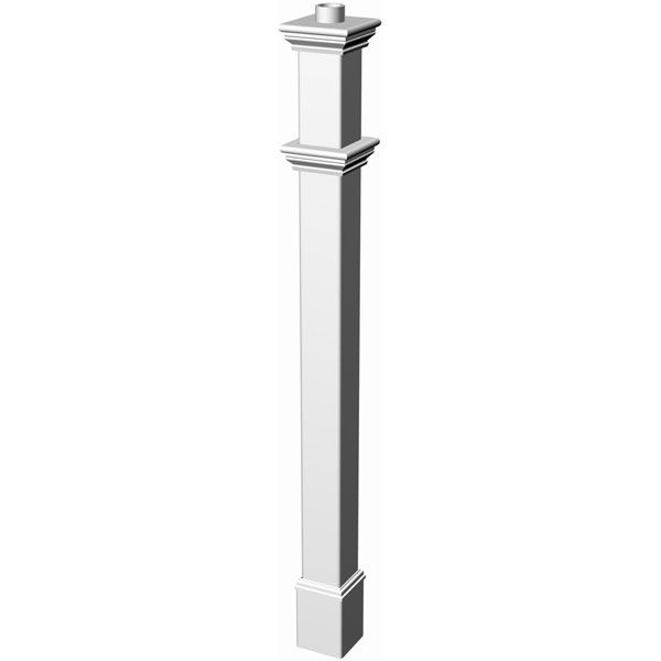 "6""W x 6""D x 72""H Portsmouth Lamp Post (Lamp not included), White"