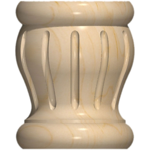 "3 1/2""W x 4 3/8""H Full Round Colonial Fluted Bun Foot"