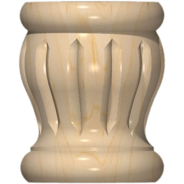 "3 1/2""W x 4 3/8""H Full Round Colonial Reeded Bun Foot"