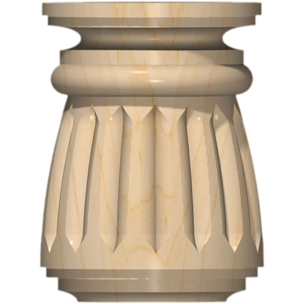"4""W x 5 3/8""H Full Round Traditional 5067 Reeded Bun Foot"