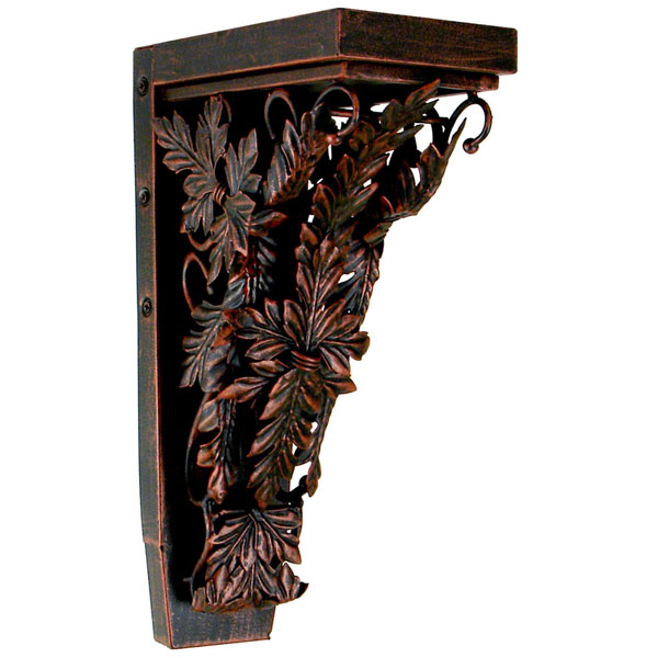 "4""W x 7 3/4""D x 13""H Corinthian Palmette Corbel in Aged Copper (Loads up to 110lbs)"