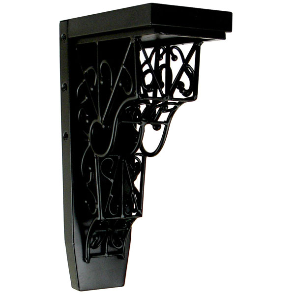 "4""W x 7 3/4""D x 13""H Barcelona Trellis Corbel in Wrought Iron (Loads up to 110lbs)"